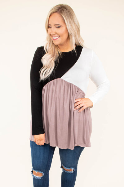 So Intrigued Top, Black-Ivory-Mocha