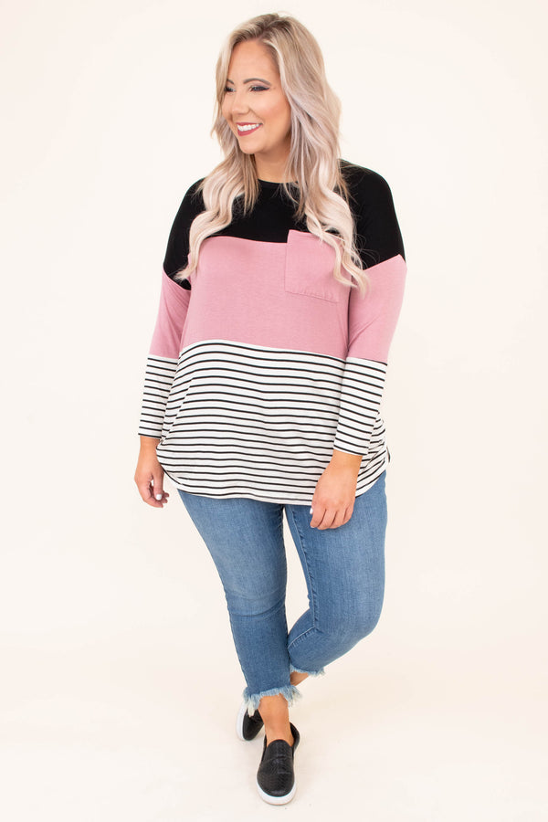 shirt, long sleeve, curved hem, chest pocket, black, mauve, white, stripes, colorblock, comfy, fall, winter