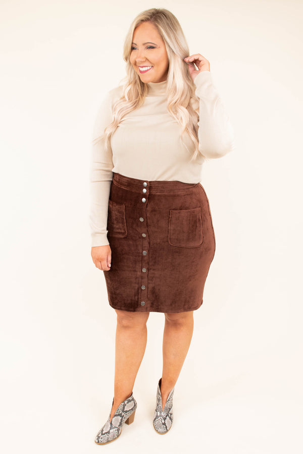 skirt, short, button down, pockets, corduroy, fitted, brown, fall, winter
