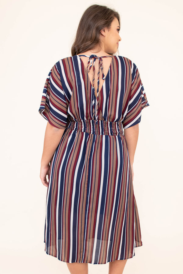 dress, midi, short sleeve, vneck, pockets, belted waist, flowy, ruched waist, navy, mocha, white, striped, comfy