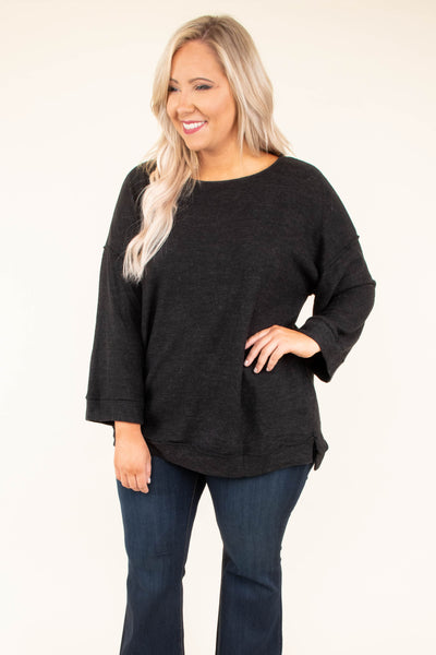 top, blouse, long sleeve, blouse, bell sleeve, black