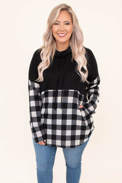 pullover, long sleeve, cowl neck, drawstrings, black, white, plaid, colorblock, long, comfy, fall, winter, outerwear