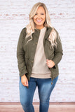 jacket, long sleeve, olive, button up, cinched waistline, pockets, fall, winter