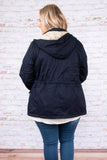 jacket, navy, hood, zip up. pockets, cinch waist, winter, fall