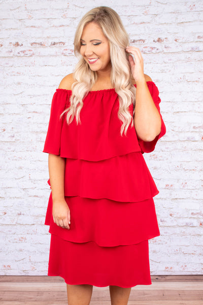 dress, ruffle, layered, short sleeve, red, off the shoulder, midi