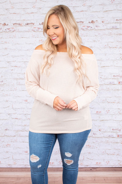 shirt, long sleeve, off the shoulder, short, waffle knit, comfy, oatmeal, fall, winter