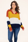 sweater, long sleeve, vneck, short, distressed hems, rust, mustard, white, navy, colorblock, comfy, fall, winter