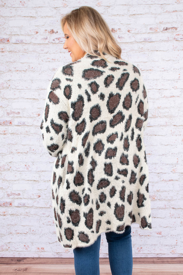 cardigan, long sleeves, long, white, brown, black, leopard, fuzzy, comfy, cozy, outerwear, fall, winter
