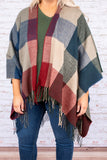 top, poncho, plaid, blue, red, gray, half sleeve, layering, fringe