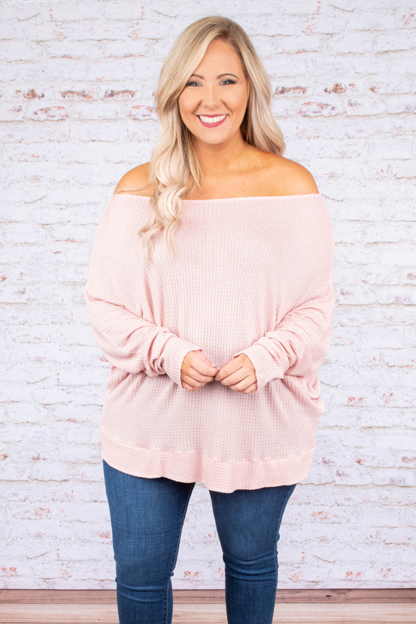 shirt, long sleeve, off the shoulder, waffle knit, loose, blush, fall, winter