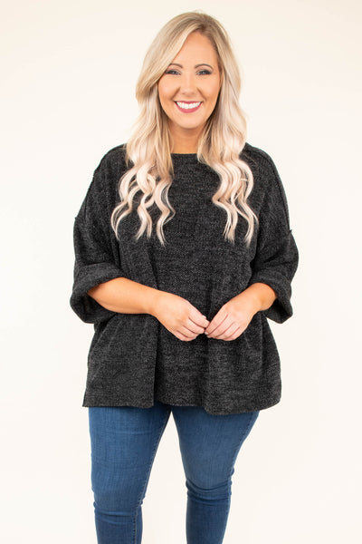 shirt, three quarter sleeves, heather black, solid, loose sleeves, cuffed sleeves, flowy, comfy, fall, winter