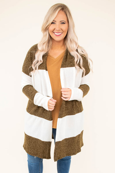cardigan, long sleeve, long, olive, white, striped, comfy, fall, winter