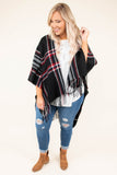 top, poncho, plaid, red, flowy, cozy, black, ivory