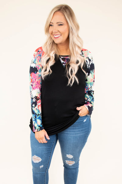 shirt, long sleeve, black, multicolored floral, floral sleeves, floral v at neck, soft, flowy