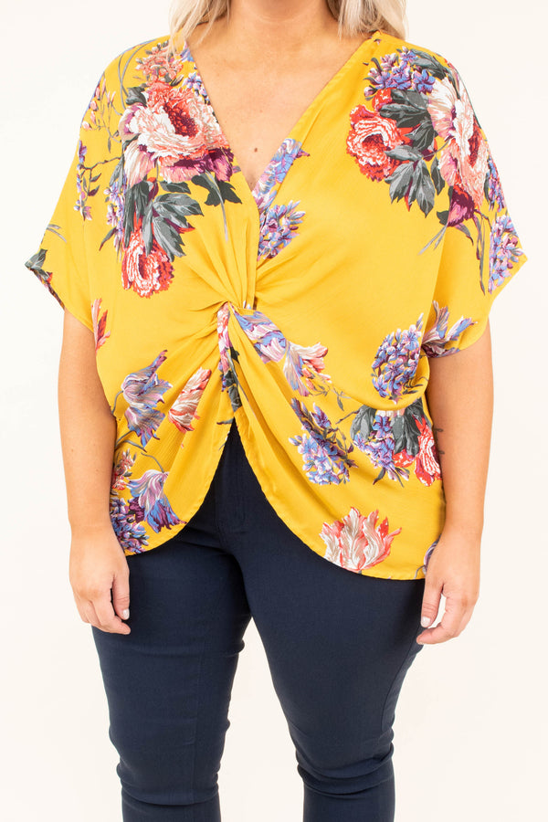 blouse, short sleeve, vneck, split front, twisted front, longer back, yellow, red, green, purple, floral, comfy