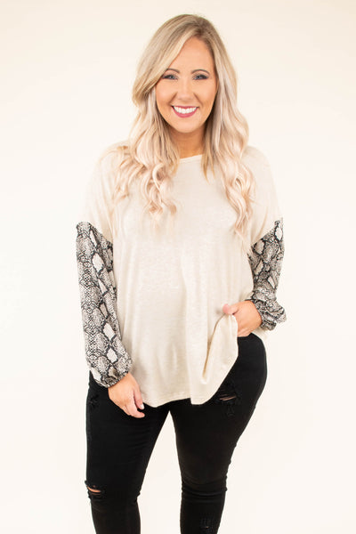 shirt, long sleeve, curved hem, flowy, bubble sleeves, white, snakeskin sleeves, charcoal, comfy, fall, winter