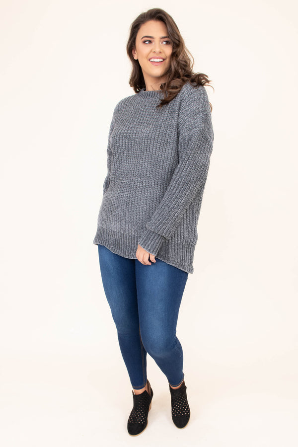 top, sweater, grey, long sleeve, soft, comfy, scalloped hem