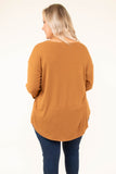 shirt, long sleeves, curved hem, flowy, camel, solid, fall, winter