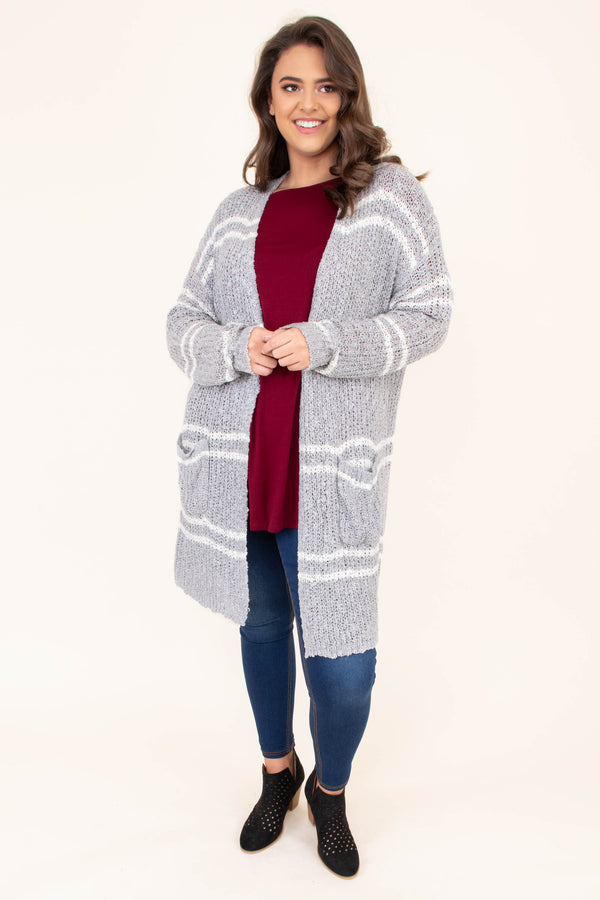 cardigan, long sleeve, long, pockets, gray, white, striped, comfy, outerwear