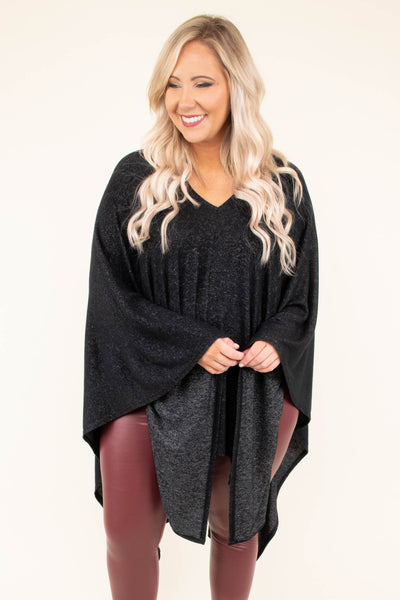 tunic, poncho, long sleeves, vneck, deep v back, asymmetrical hem, very long back, black, solid, flowy, cozy, outerwear, fall, winter