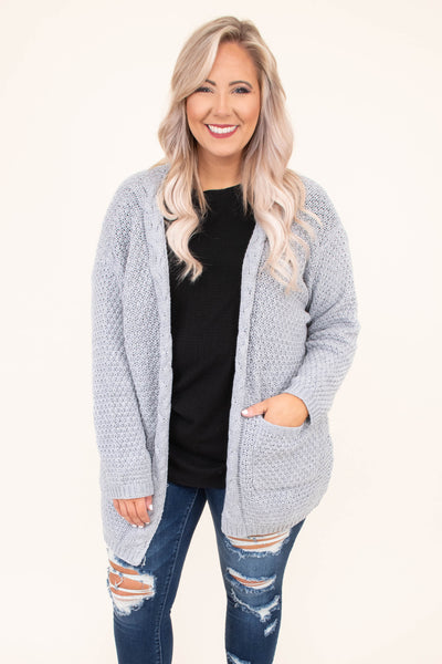 top, cardigan, long sleeve, open front, charcoal, pockets