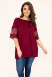 shirt, short sleeve, sheer sleeves, lace detail, flowy, burgundy, comfy