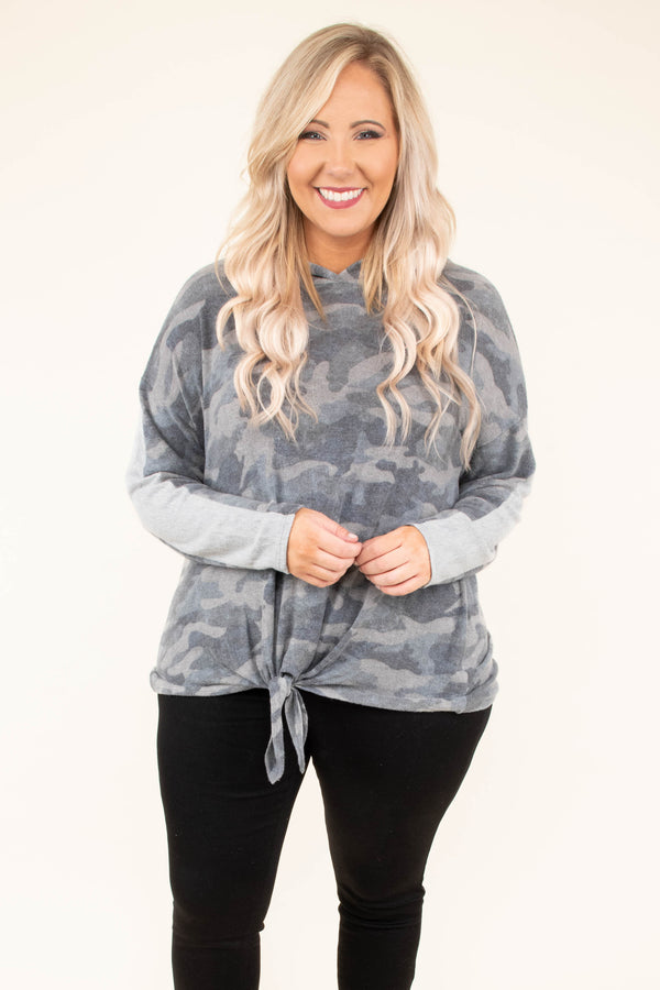 hoodie, long sleeve, hood, tie front, short, gray, camo, comfy, outerwear