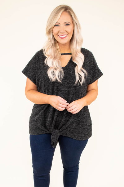 shirt, short sleeve, vneck, tie front, black, heathered, comfy, longer back, loose sleeves