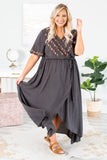 dress, maxi, short sleeve, wrap dress, embroidered top, charcoal, tie waist, asymmetrical hem, flowy, comfy