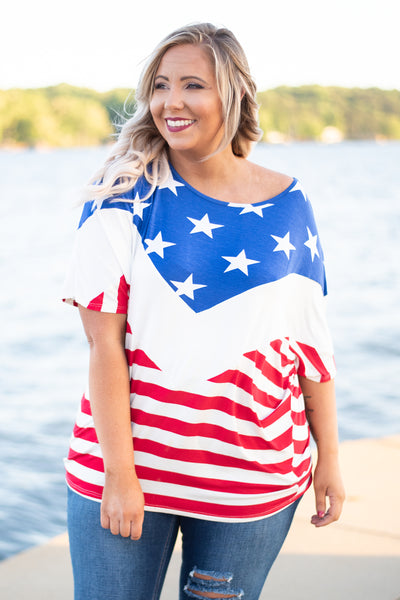 shirt, short sleeve, scoop neck, fitted waistband, red, white, blue, stars, stripes, colorblock, comfy