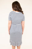 dress, midi, short sleeve, fitted top, pockets, ruffle hem, white, navy, striped, comfy, flowy