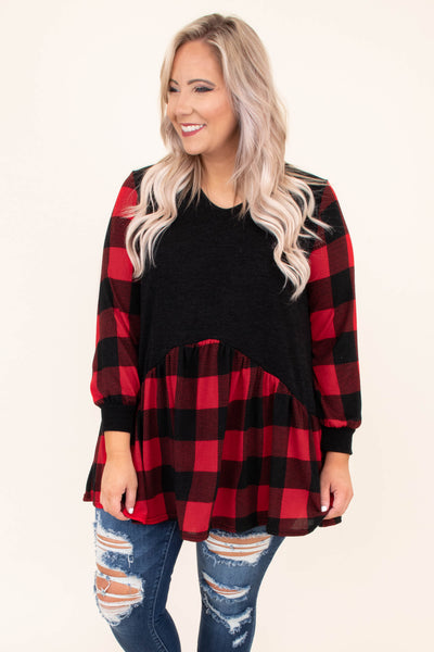 shirt, long sleeve, bubble sleeves, vneck, babydoll, red, black, plaid, colorblock, comfy, fall, winter