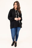 hoodie, long sleeve, bubble sleeves, hood, drawstrings, longer back, flowy, black, comfy