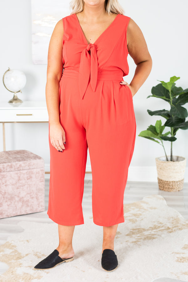 jumpsuit, sleeveless, cropped pants, vneck, tie neckline, pockets, wide leg, coral, spring, summer