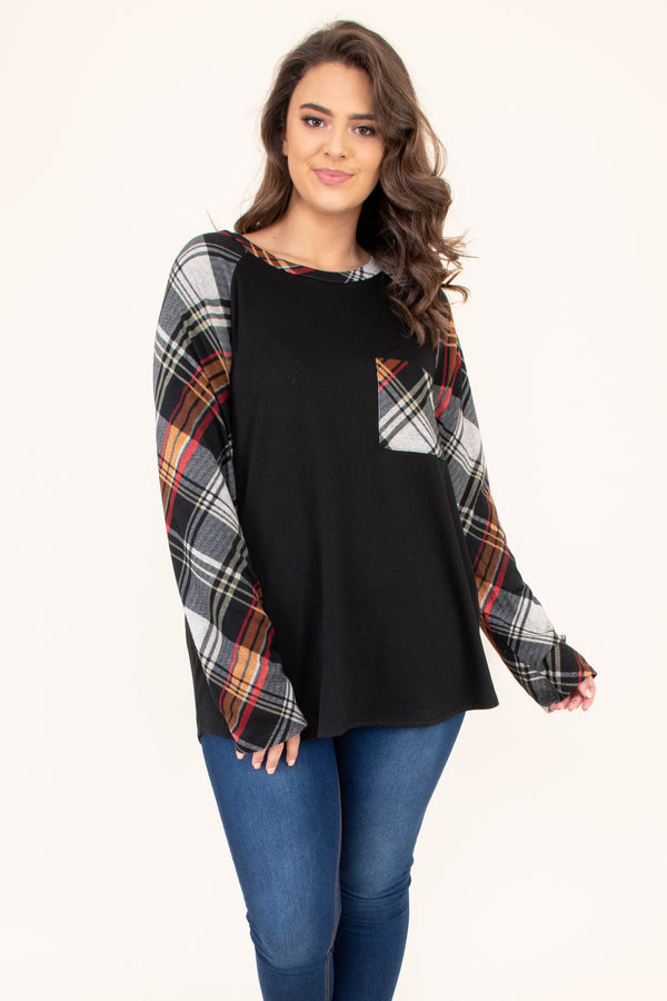 shirt, long sleeve, flowy, chest pocket, black, plaid sleeves, plaid pocket, white, red, orange, comfy, fall, winter