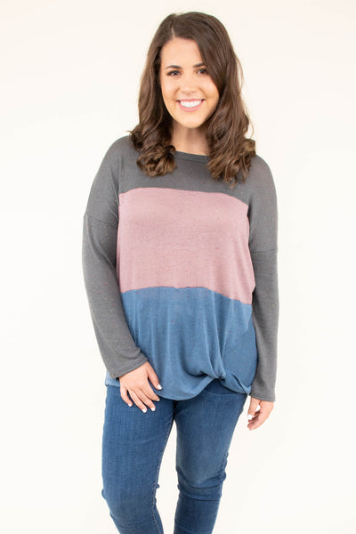 shirt, long sleeve, twist hem, charcoal, pink, blue, colorblock, comfy, fall, winter