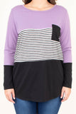 shirt, long sleeve, curved hem, scoop neck, chest pocket, lavender, white, charcoal, block, stripes, colorblock, comfy, fall, winter