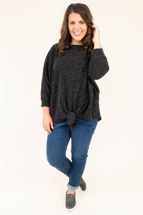 shirt, three quarter sleeve, tie front, drapey, loose, comfy, black, heathered, fall, winter