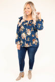 blouse, long sleeve, bubble sleeves, wide neckline, ruffle neckline, button down, short, curved hem, navy, floral, brown, green, white, comfy
