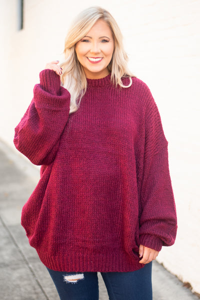 sweater, long sleeve, bubble sleeves, long, oversized, wine, comfy, fall, winter