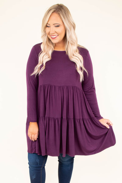 shirt, long sleeve, babydoll, long, ruffles, plum, solid, flowy, comfy, fall, winter