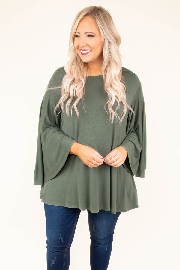 shirt, long sleeve, bell sleeve, flowy, olive, solid, comfy, fall, winter