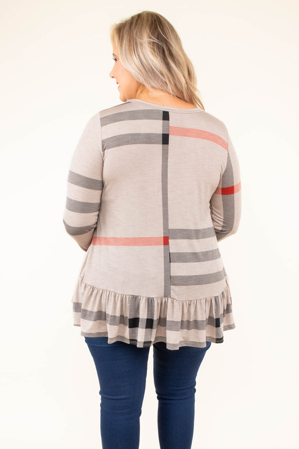 shirt, long sleeve, peplum, short, flowy, longer back, mocha, black, red, plaid, comfy, fall, winter
