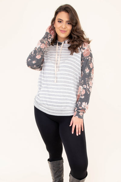 top, causal top, striped, floral, charcoal, white, pink, hoodie, long sleeve