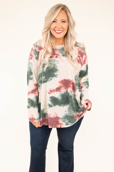 shirt, long sleeve, curved hem, loose sleeves, flowy, tan, green, red, tie dye, comfy, fall, winter