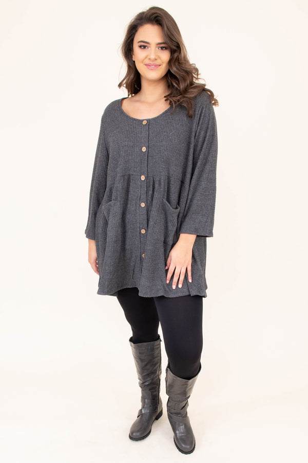 shirt, three quarter sleeve, button down, babydoll, pockets, scoop neck, waffle knit, charcoal, comfy, flowy, long