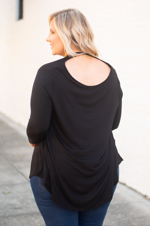 top, casual top, long sleeve, black, scoop, neck, detailed front, cut out back