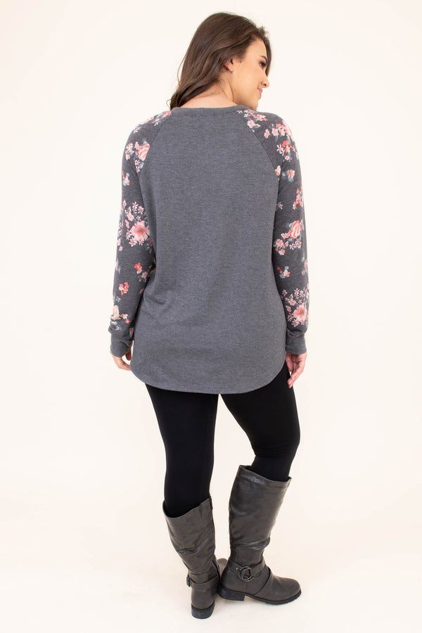 shirt, long sleeve, curved hem, long, loose, gray, floral sleeves, pink, orange, green, comfy, fall, winter