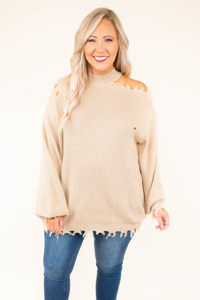 sweater, long sleeve, high neck, cold shoulder, fringed hem, distressed, tan, comfy, fall, winter