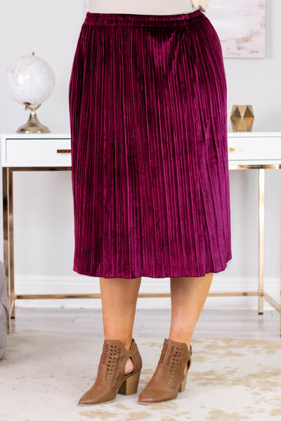 skirt, midi, velvet, pleated, flowy, merlot, comfy, fall, winter